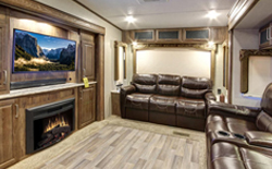 shop rvs with rear living room, picture of a rv with a rear living room, picture of a rear living room with 2 leather couches and a hd tv