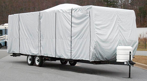 how to winterize your rv and get it ready for storage, picture of a rv that is covered with a RV cover being stored for the winter months to come