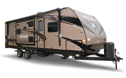 Winnebago Ultralite, picture of the exterior of a winnebago ultralite travel trailer