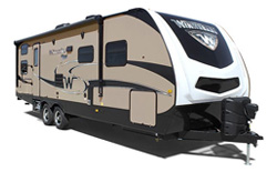 picture of a winnebago minnie plus travel trailer with a white background