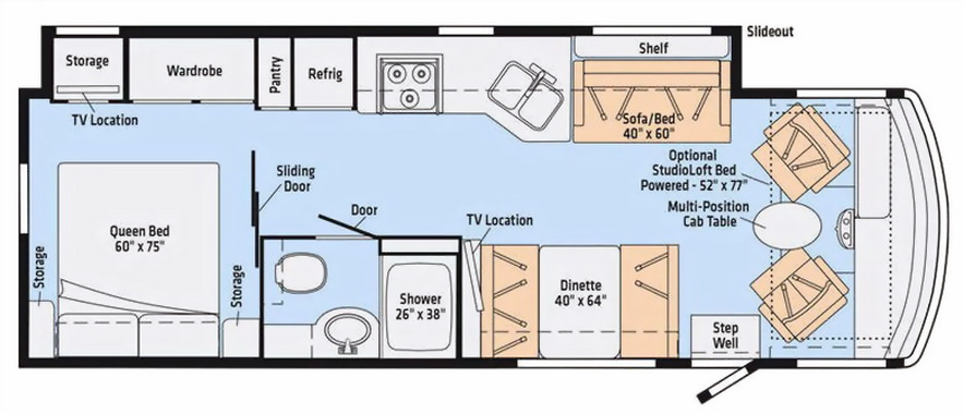 29 foot motorhome floorplan