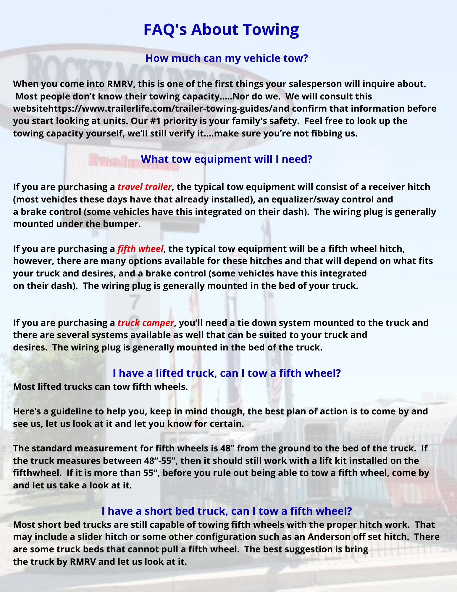 FAQ's About Towing