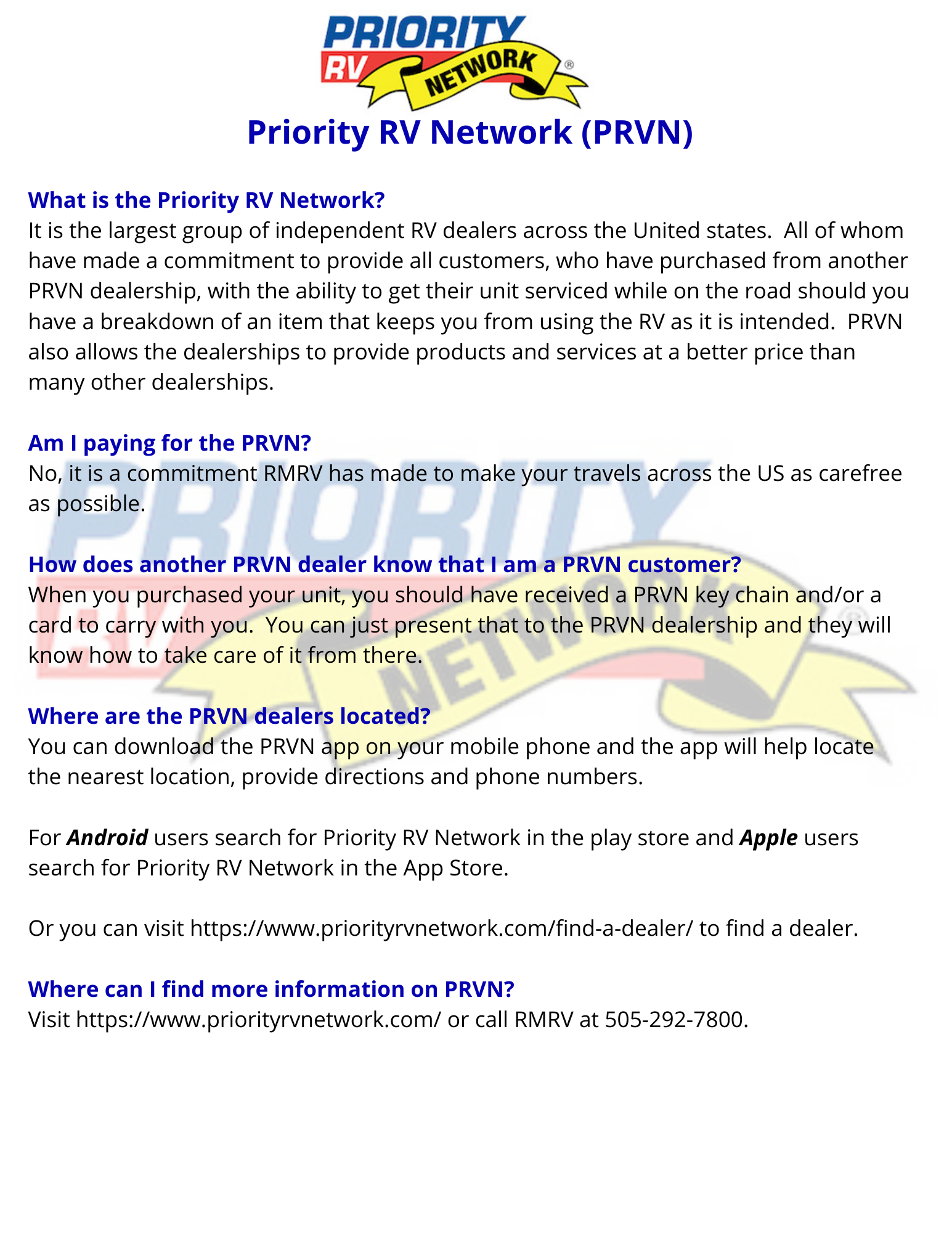 FAQ's About the Priority RV Network