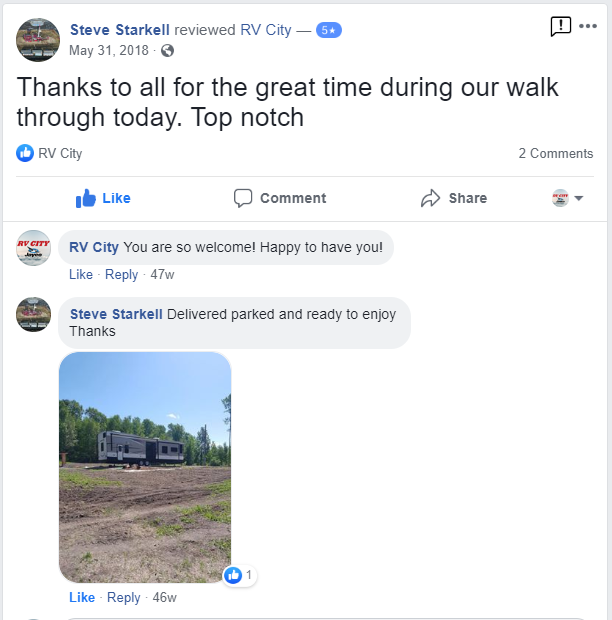 Facebook Review from one of our Happy Camping Customers