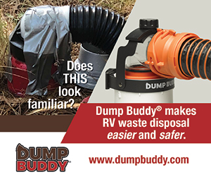 Dump Buddy - RV Waste Management Device, reduces accidental spills during black and grey tank dumping.