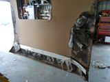 Removed damaged rear wall panel