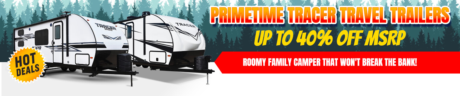 Save on Prime Time Tracer Travel Trailers