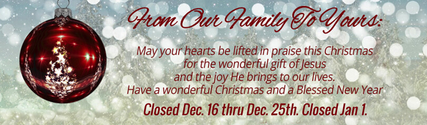 We will be closed over the christmas season