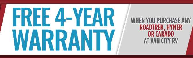 4 Year Warranty on Roadtrek, Hymer or Carado
