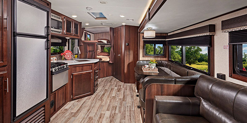 Inside Talon Toy Hauler Fifth Wheel