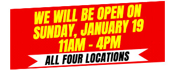 We will be open on Sunday, Jan 19